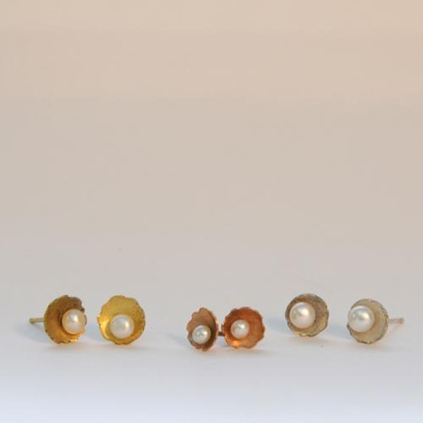 pearl earrings in silver, 18ct yellow and 18ct rose gold