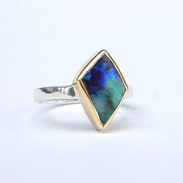 opal ring silver with 18ct gold