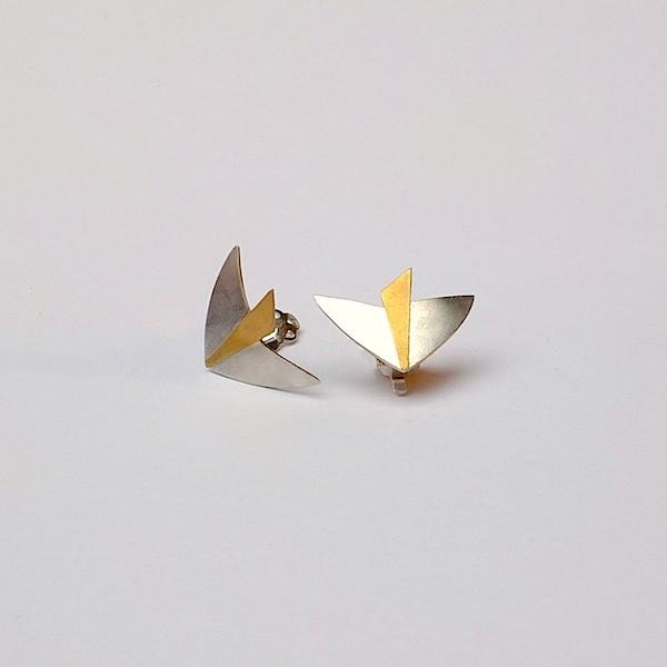 silver bird with 24 ct gold