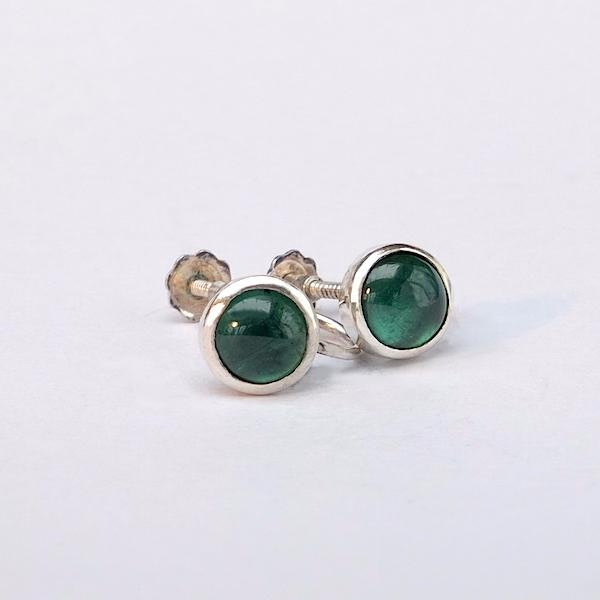 green tourmaline and silver