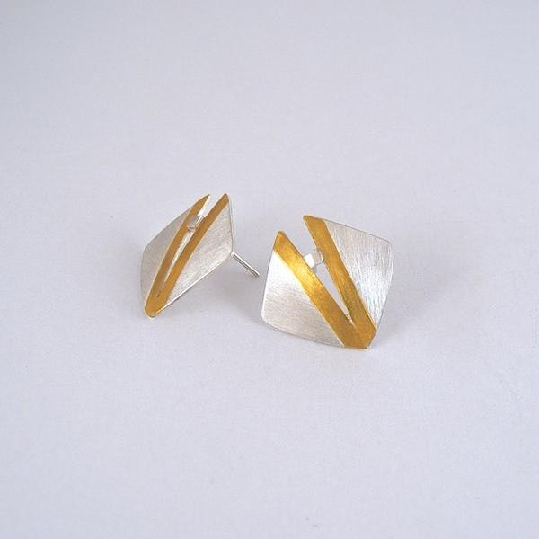 earrings: silver square with 24ct gold