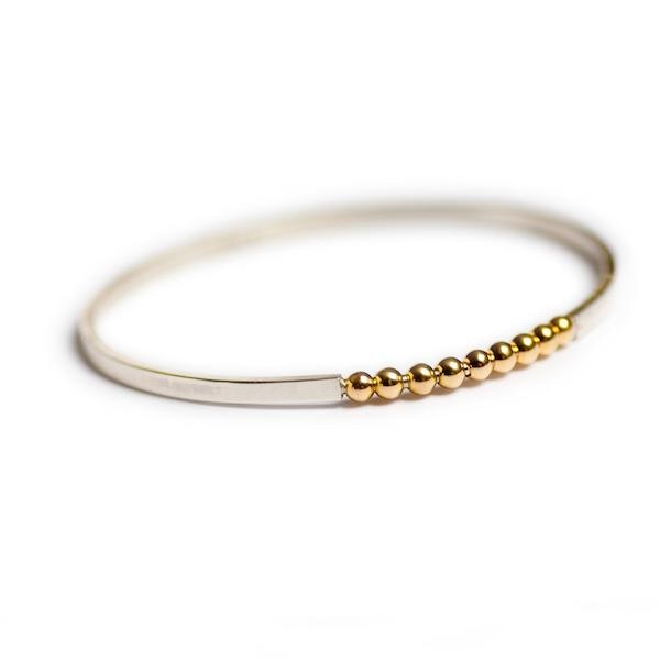silver bangle with 18ct gold vermeil beads