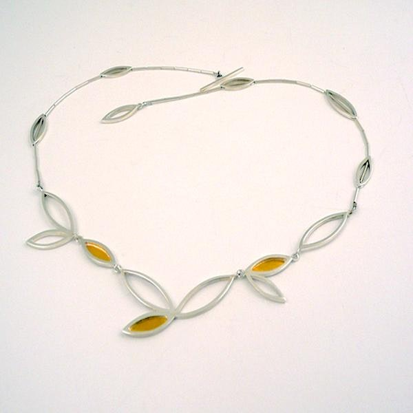 silver marquise necklace with 24ct gold
