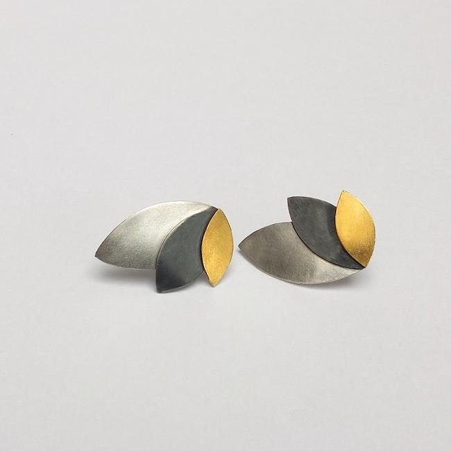 fan earrings - silver, oxidised silver and 24ct gold