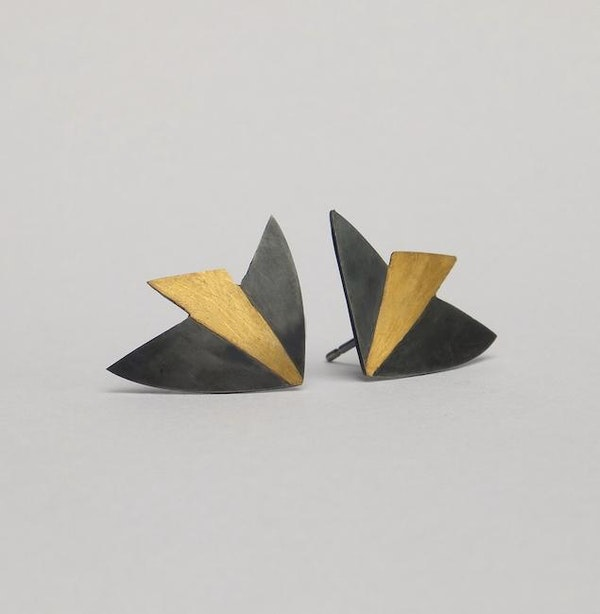 bird earrings: oxidised silver with 24ct gold