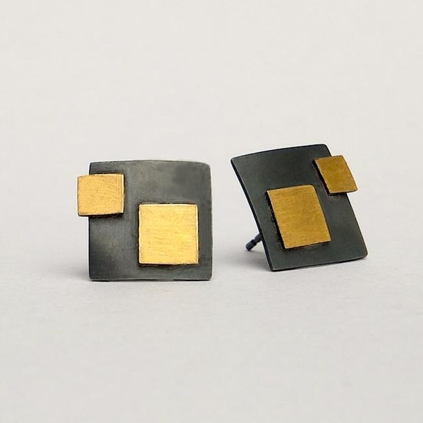 oxidised silver square earrings with 24t gold