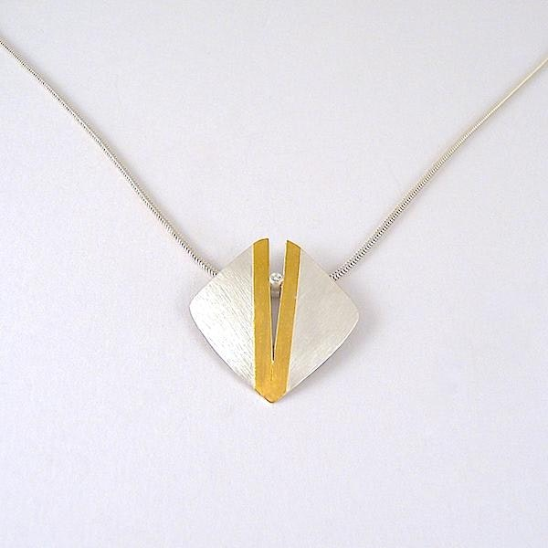 pendant: split silver square with 24ct gold and diamond