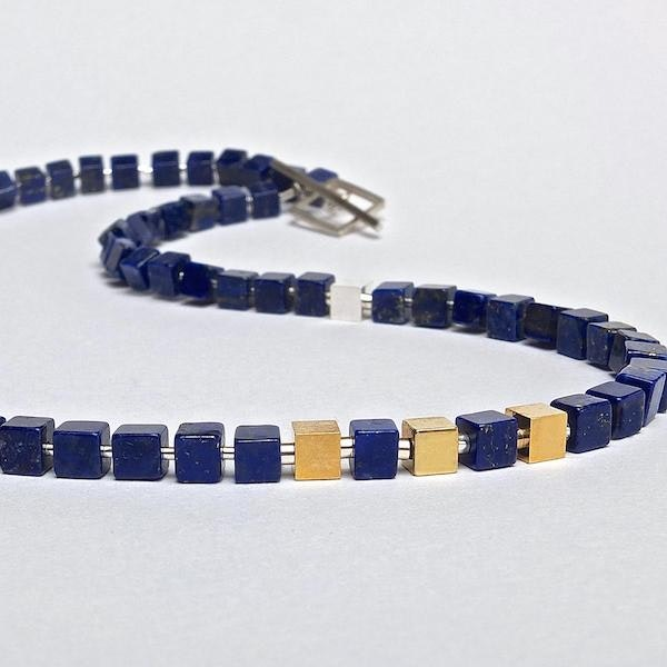 lapis lazuli necklace with silver and 18ct gold vermeil cubes