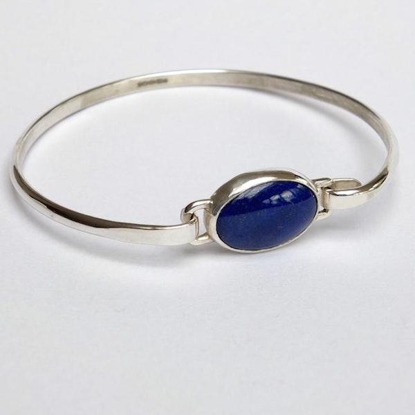 silver bangle with lapis lazuli