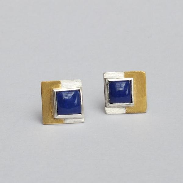 lapis lazuli and silver earrings with 24ct gold