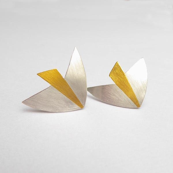 silver bird earrings with 24ct gold
