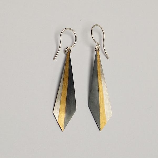 drop earrings: silver and oxidised silver with 24ct gold