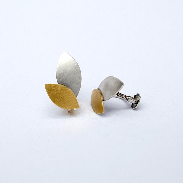 silver marquises with 24ct gold